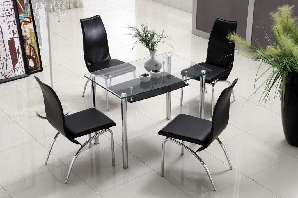 compact contemporary dining table with shelf storage under glass top