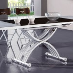Frosted Glass Extendable Dining Table With Adjustable Base Little Rock Arkansas Esf2138