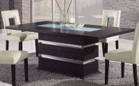 Brown Contemporary Pedestal Dining Table with Glass Inlay ...