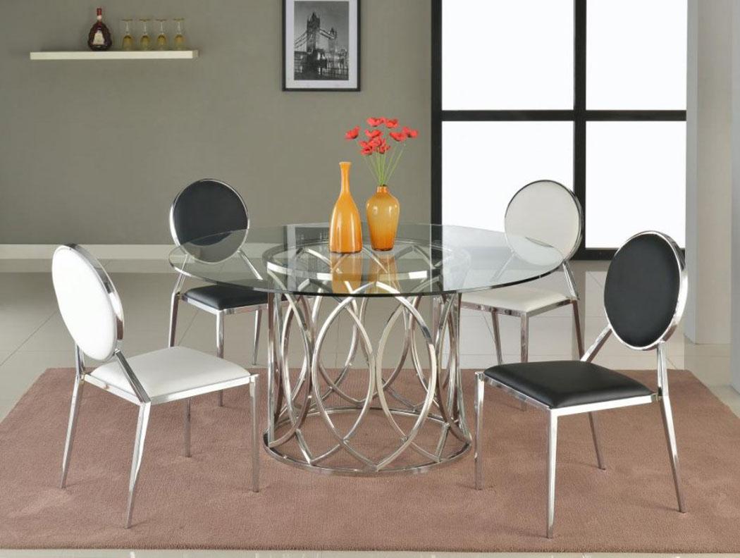 steel kitchen table inexpensive backsplash round glass dining with base san antonio texas chcour