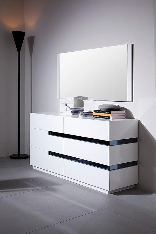 Contemporary White Glossy Dresser with Black Stripes Shop modern Italian and luxury furniture