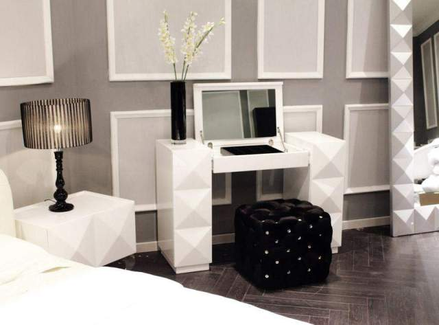 White Lacquer Contemporary Vanity with Folding Mirror and ...