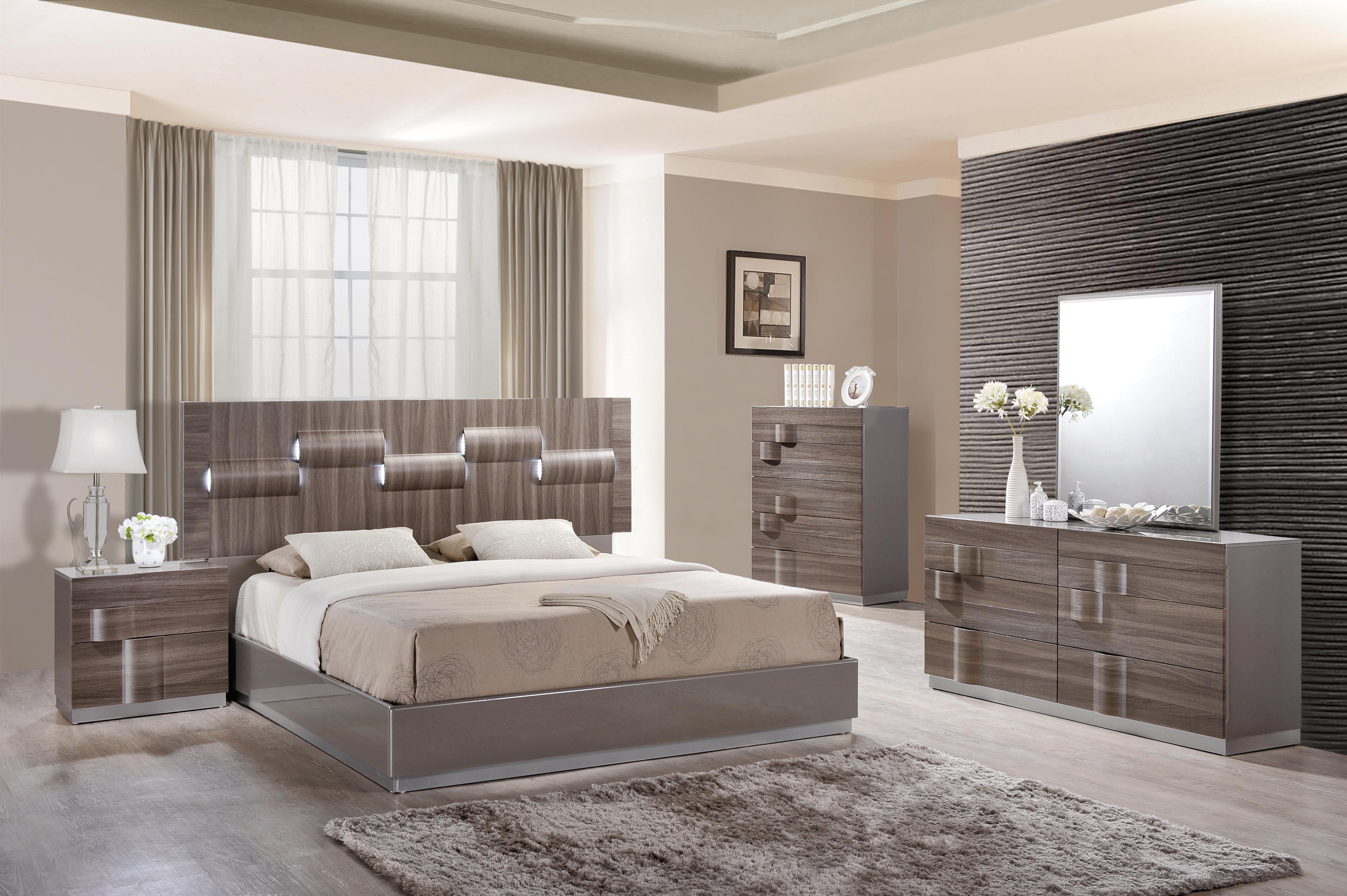 Glamorous Grey Zebra Wood LED Bedroom Set Philadelphia