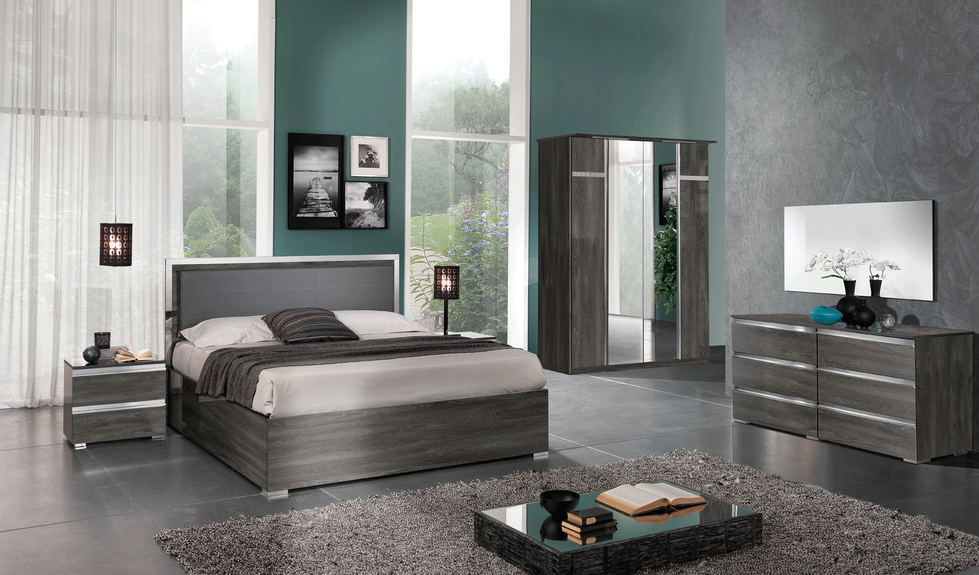 Made in Italy Leather Contemporary Platform Bedroom Sets