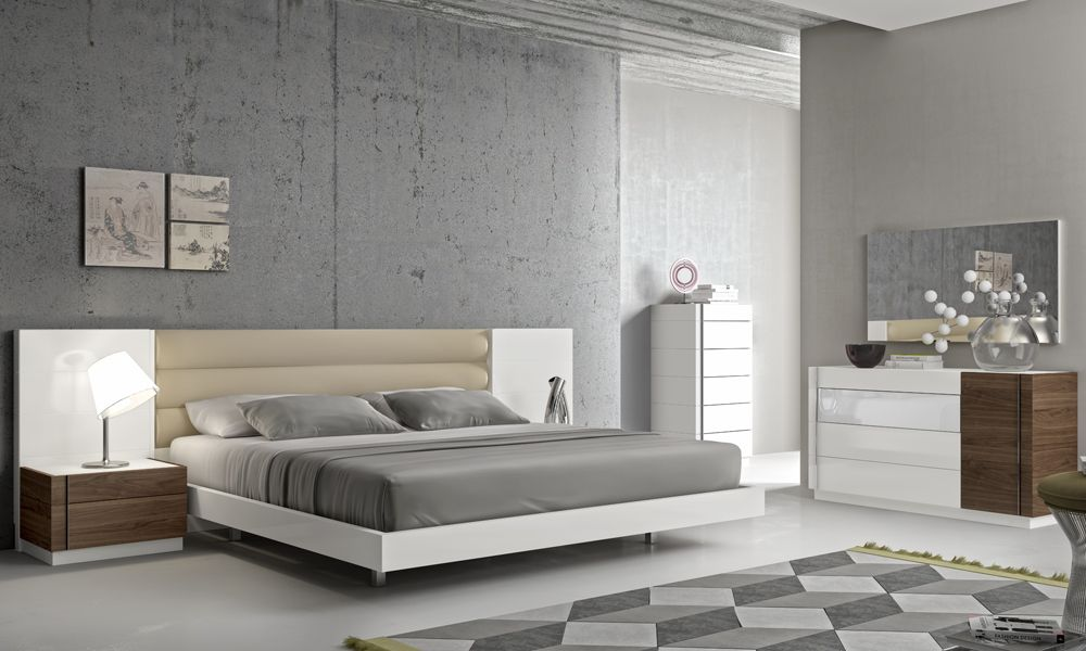 Fashionable Leather Modern Design Bed Set with Long Panels Detroit Michigan JMFurnitureLISBON
