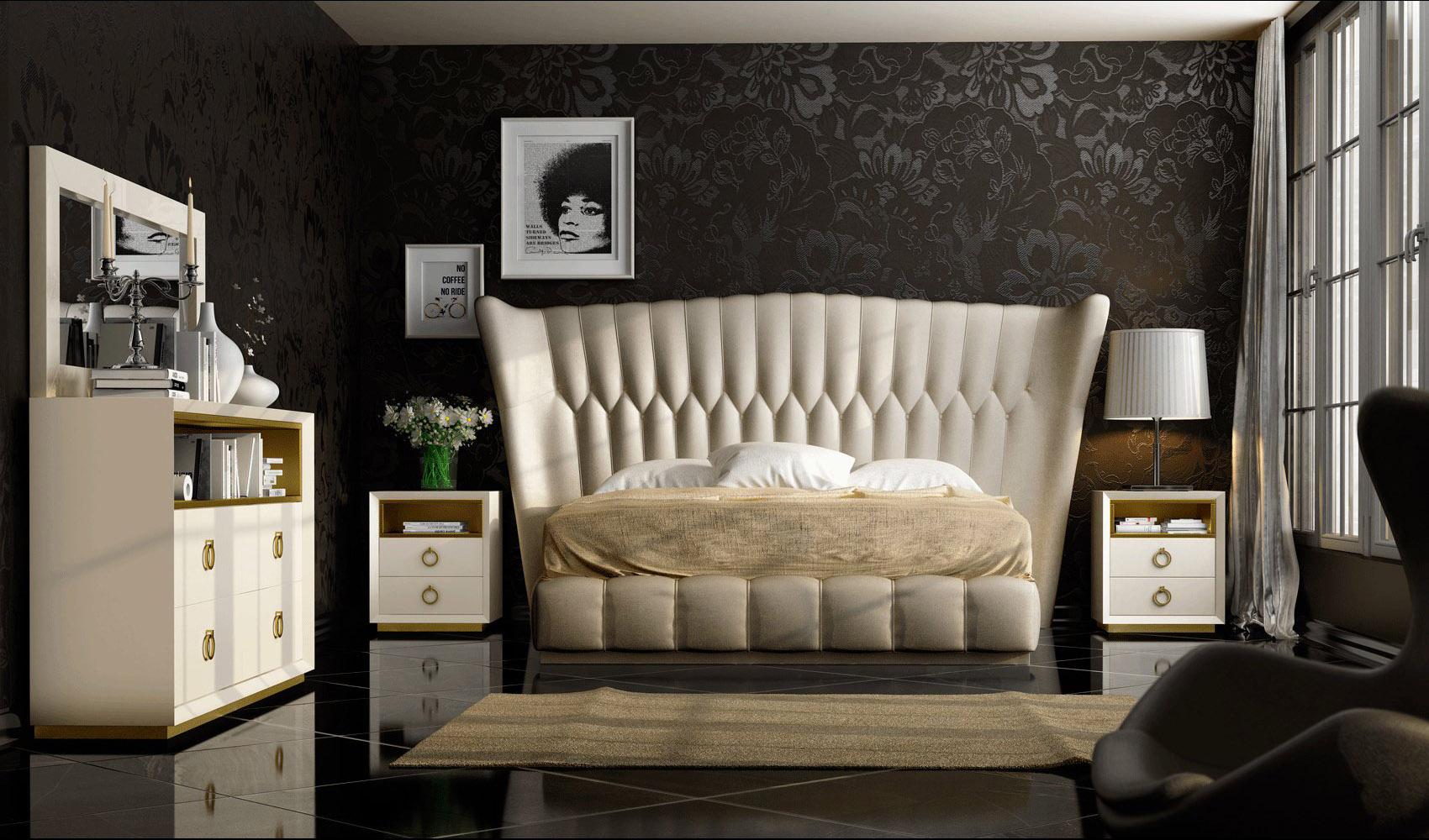 exclusive leather platform bedroom furniture sets