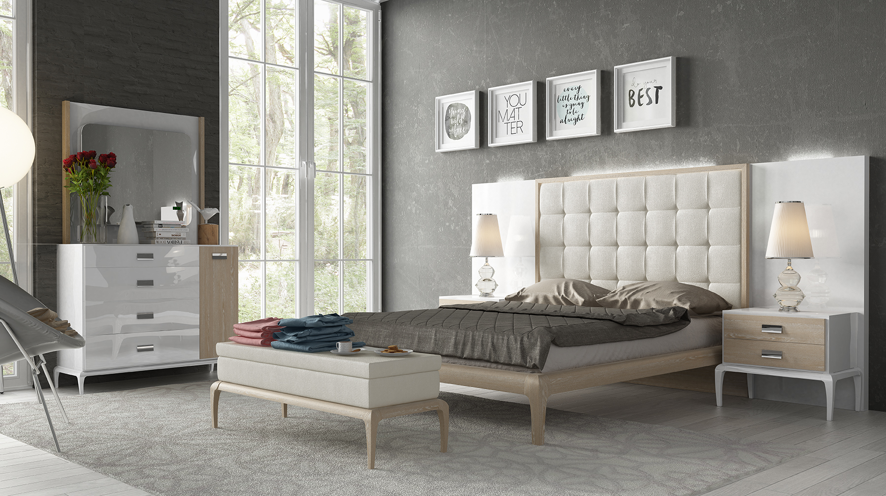 Stylish Wood High End Bedroom Furniture with Extra Storage
