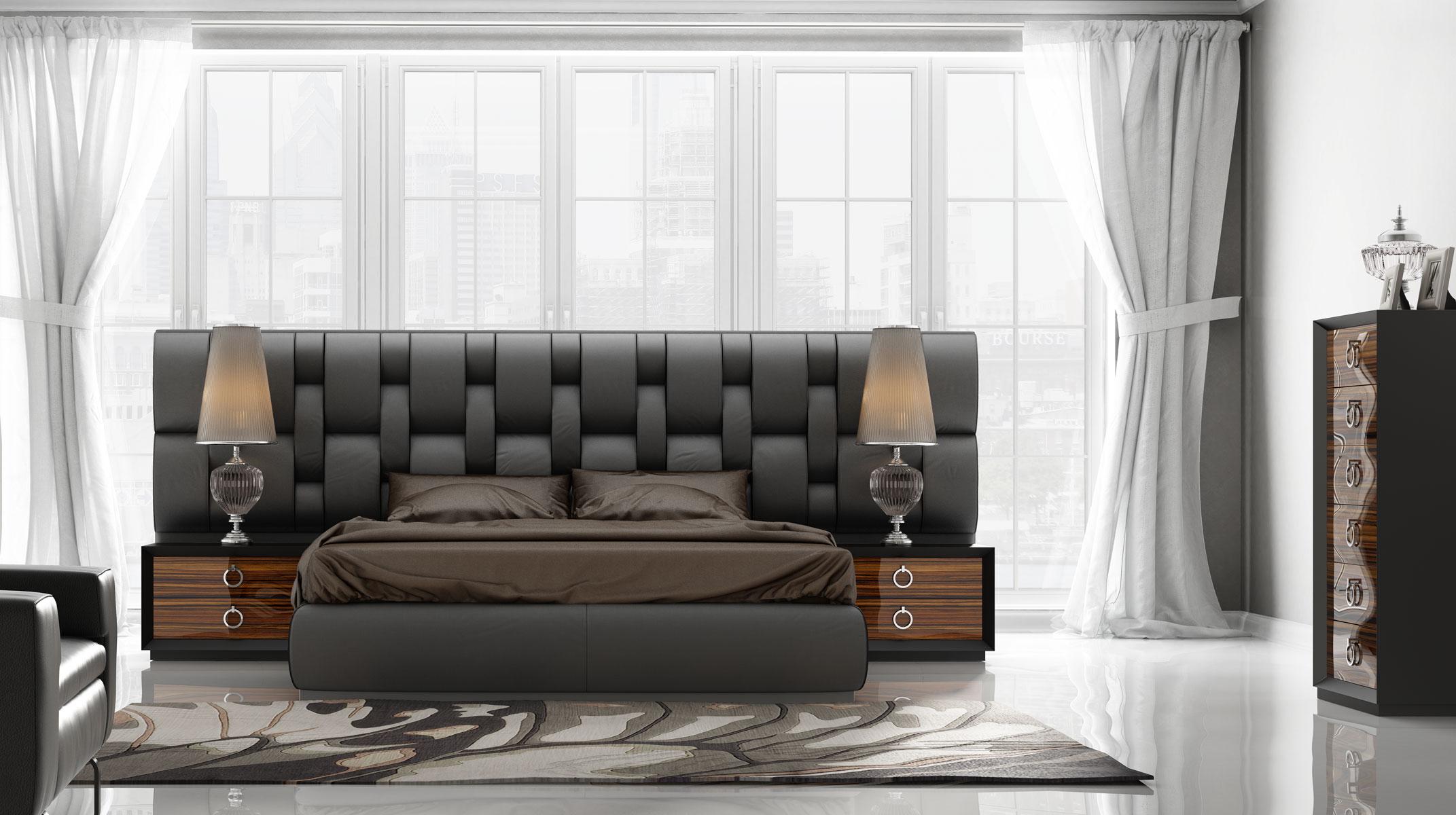 Contemporary Luxury Bedroom Set with Designer Long Exclusive Bed Aurora Colorado FrancoKL112