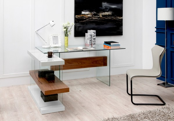 Glass Desk In White And Walnut With Shelving Unit