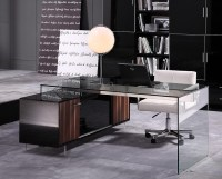 Contemporary Office Desk with Thick Acrylic Cabinet ...