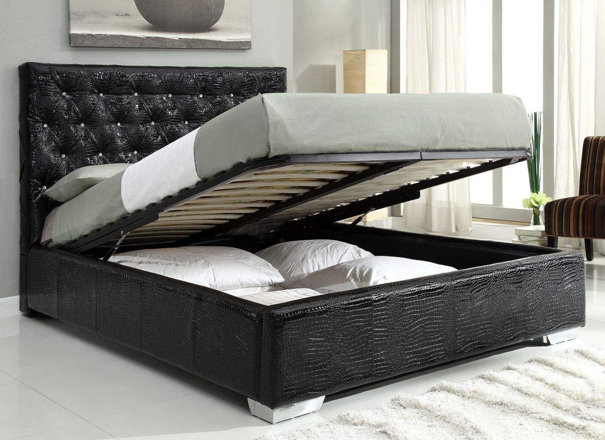 Exclusive Leather High End Platform Bed With Extra Storage