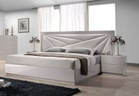 Lacquered Leather Modern Platform Bed with Extra Storage ...