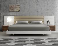 Lacquered Extravagant Leather Modern Platform Bed with ...