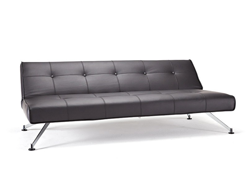 clubber sofa bed elran reclining reviews contemporary tufted black leather on chrome legs ...