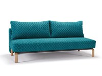Blue Contemporary Sofa Bed with Texture Upholstery and Oak ...