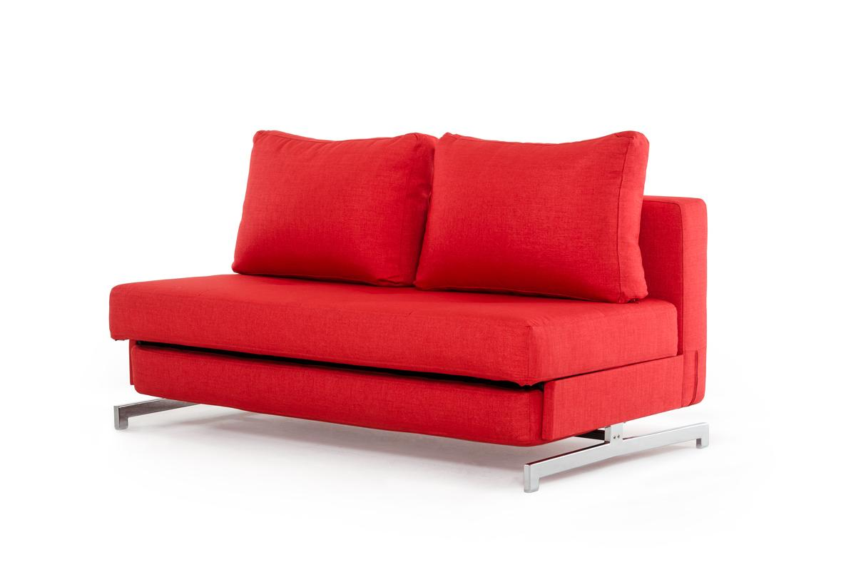 contemporary sofa bed bel air reviews red fabric with chrome legs