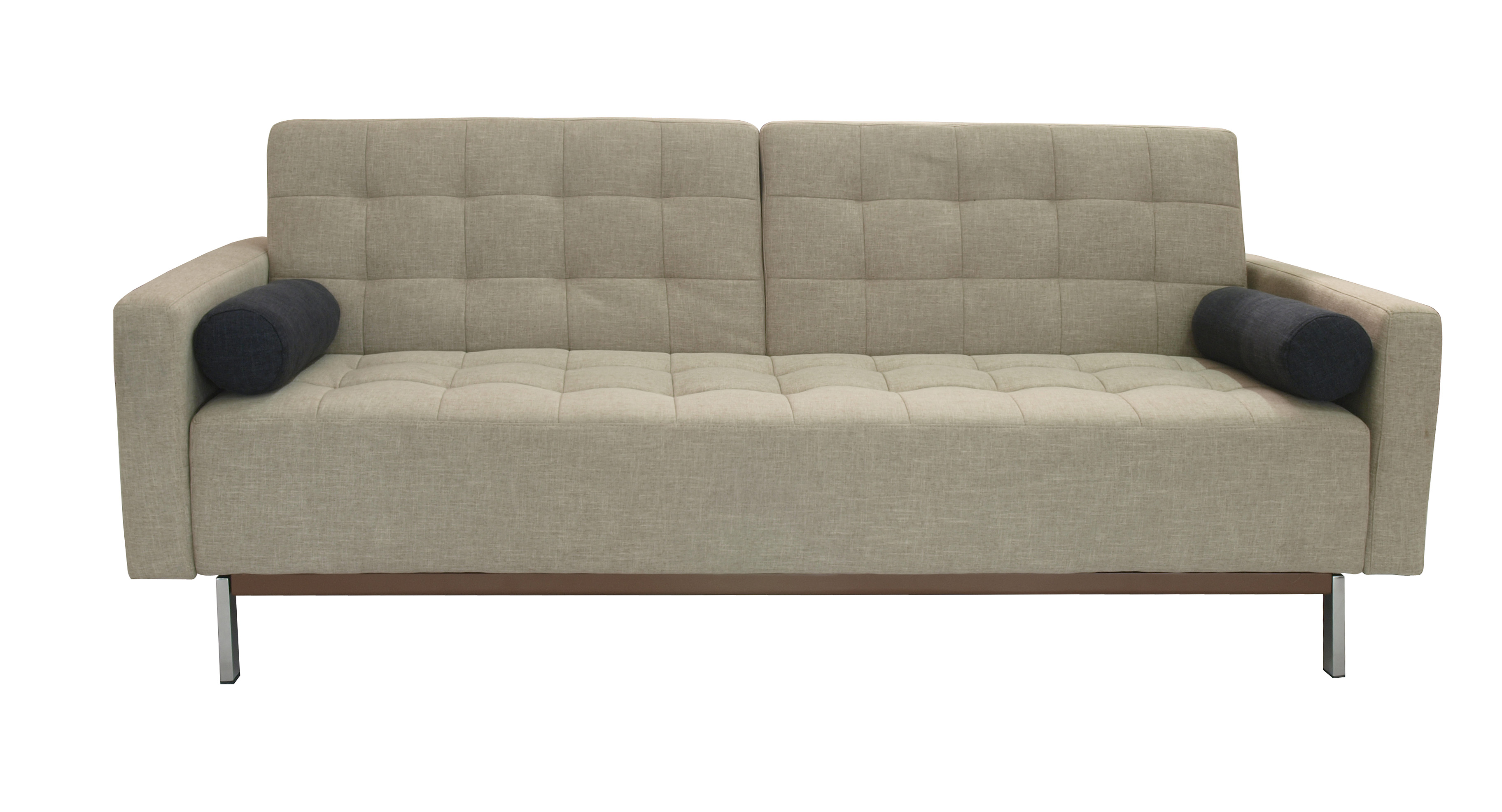 sleeper sofa contemporary grey fabric sofas beige or tufted bed santa