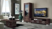 Walnut Brown TV Stand with Side Vitrine Shelves Hialeah