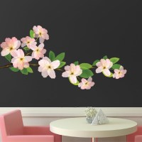 Beautiful Flower Branch Wall Decal - Bedroom Cherry ...