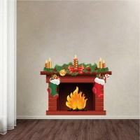 Christmas Fireplace Wall Decal Mural - Living Room Wall ...