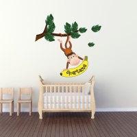 Monkey Name Wall Decal - Nursery Wall Decal Murals ...