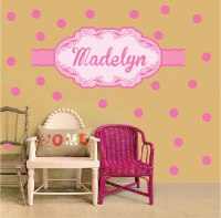 Girls Custom Name Wall Decal - PInk Wall Stickers for ...