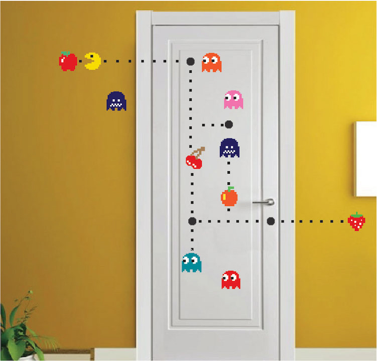 Pac Man Wall Decal Video Game Wall Decal Murals Kids Bedroom DIY Pacman Stickers Pacman
