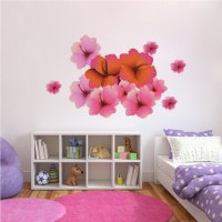 Hibiscus Flower Wall Decal - Floral Wall Decal Murals ...