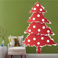 Red Christmas Tree Wall Decal - Christmas Murals - Primedecals