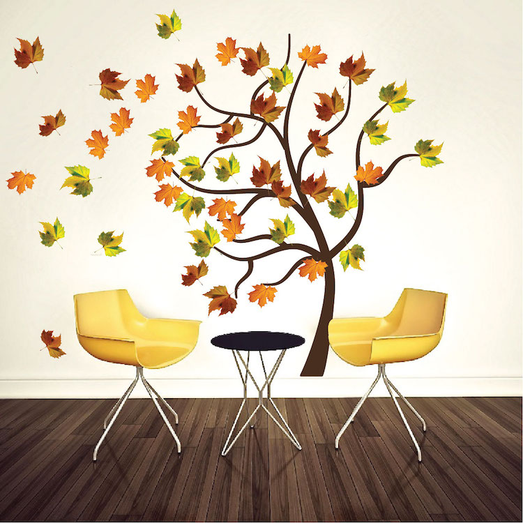 Black And White Tree Trunk Wallpaper Autumn Tree Wall Decal Mural Fall Tree Decals Primedecals
