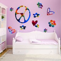Tie Dye Peace Signs Wall Decal - Sixties Wall Decal Murals ...
