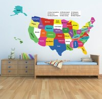 United States Map Wall Decal - Educational Wall Decal ...