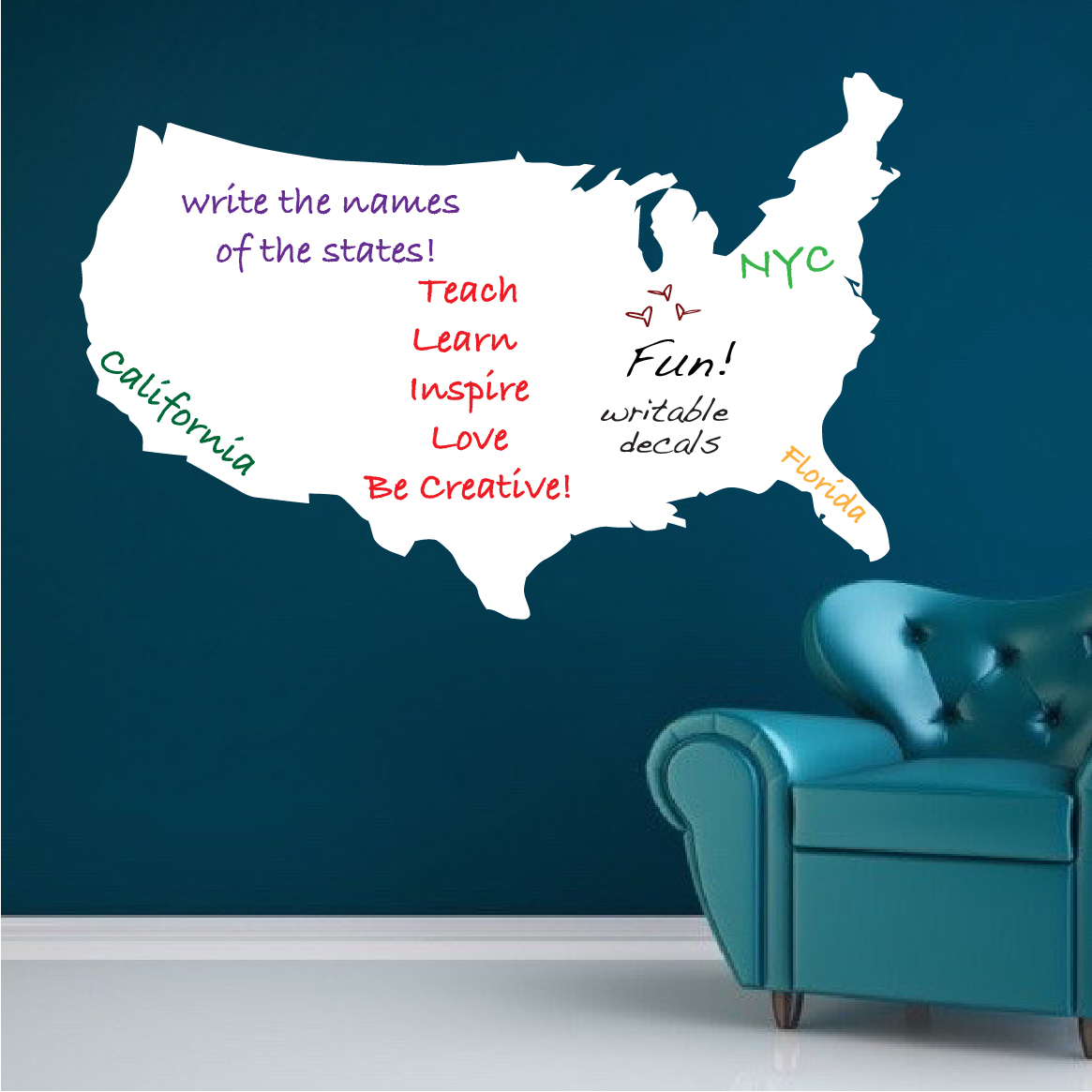 Us Map Dry Erase Wall Decal Modern Wall Decal Murals Primedecals ...