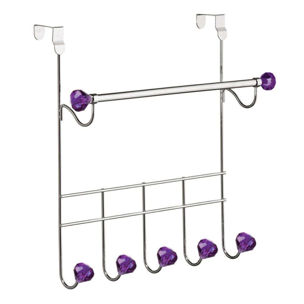 Prime Furnishing 5 Diamante Hook Over Door Hanger Purple