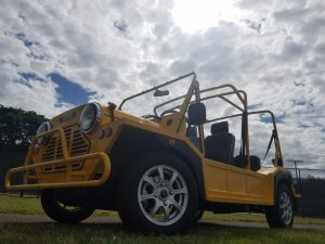 Moke Yellow Custom Seats bottom front view