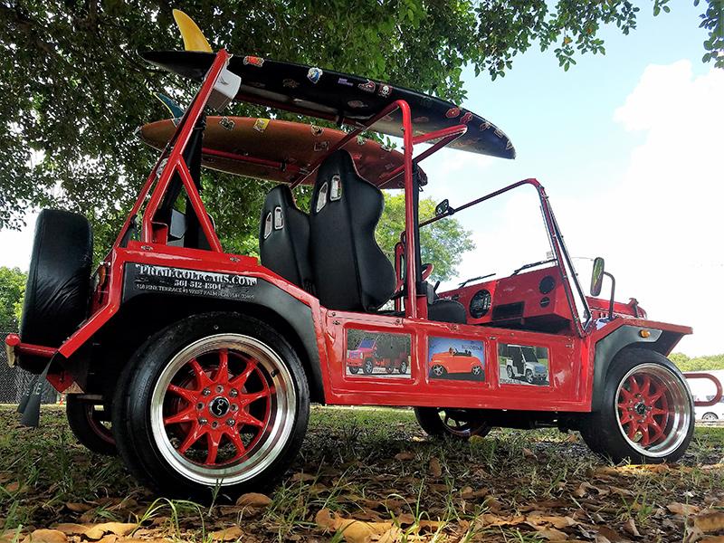 custom red moke golf car