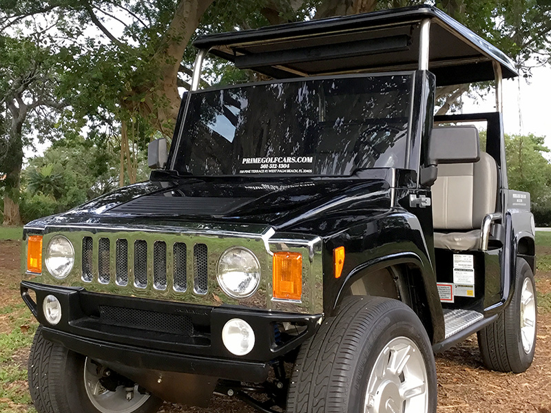 black 4 passenger hummer with top