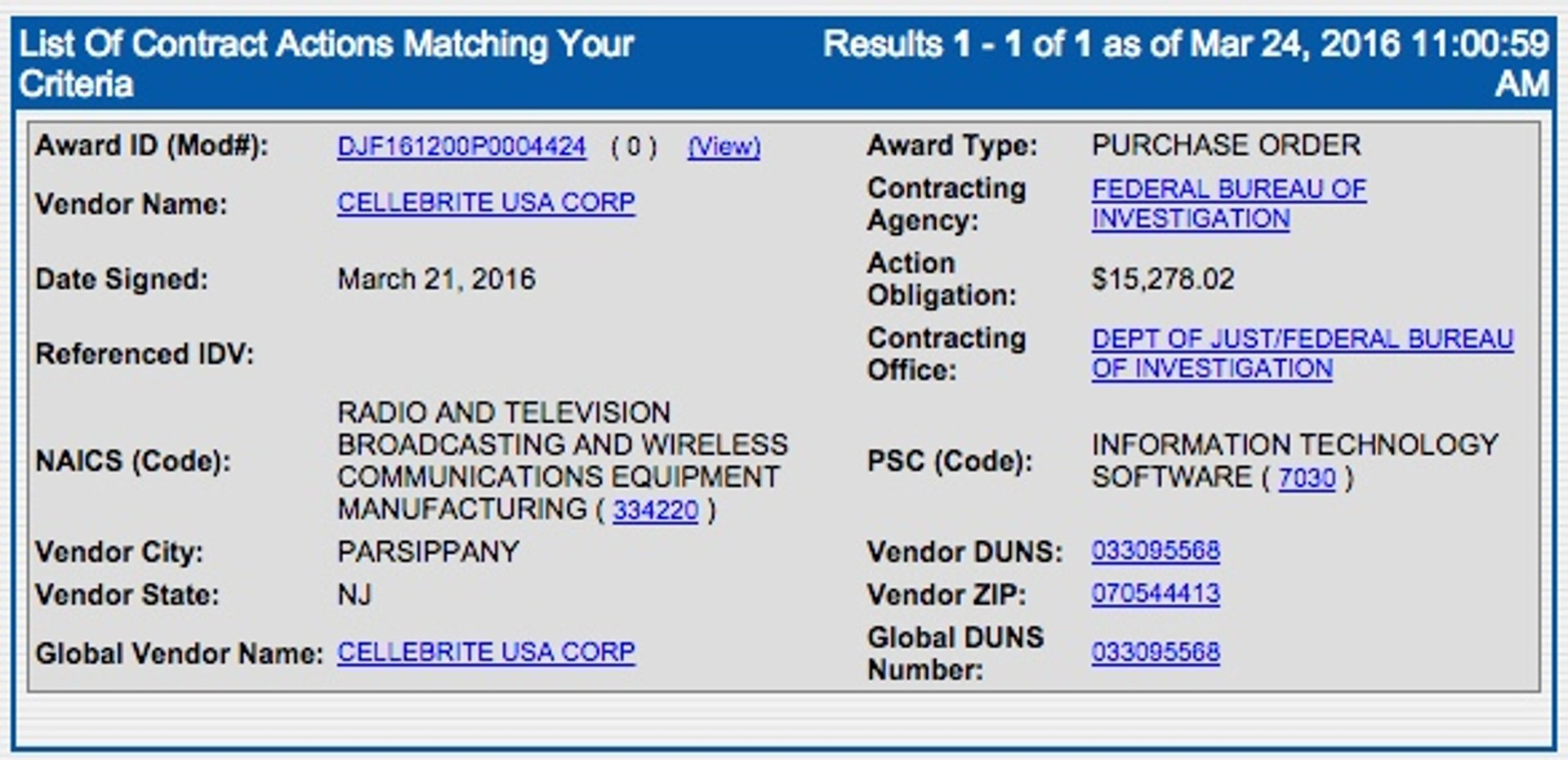 FBI - Cellebrite Contract