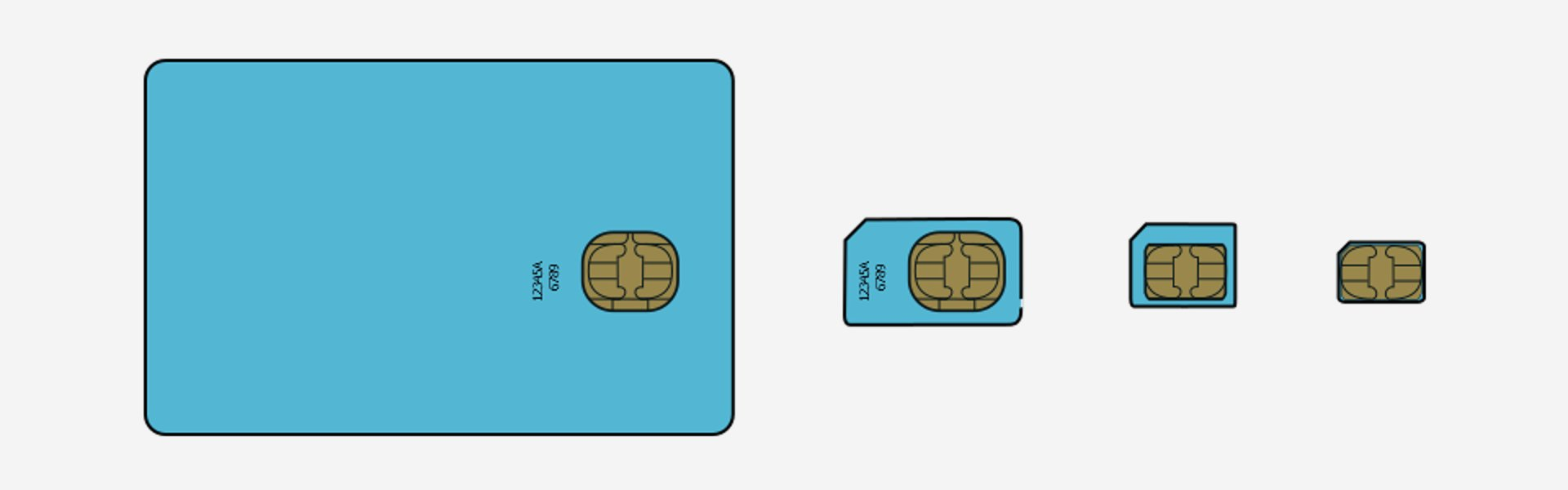 (from Left To Right) Fullsize Sim, Mini Sim, Micro Sim