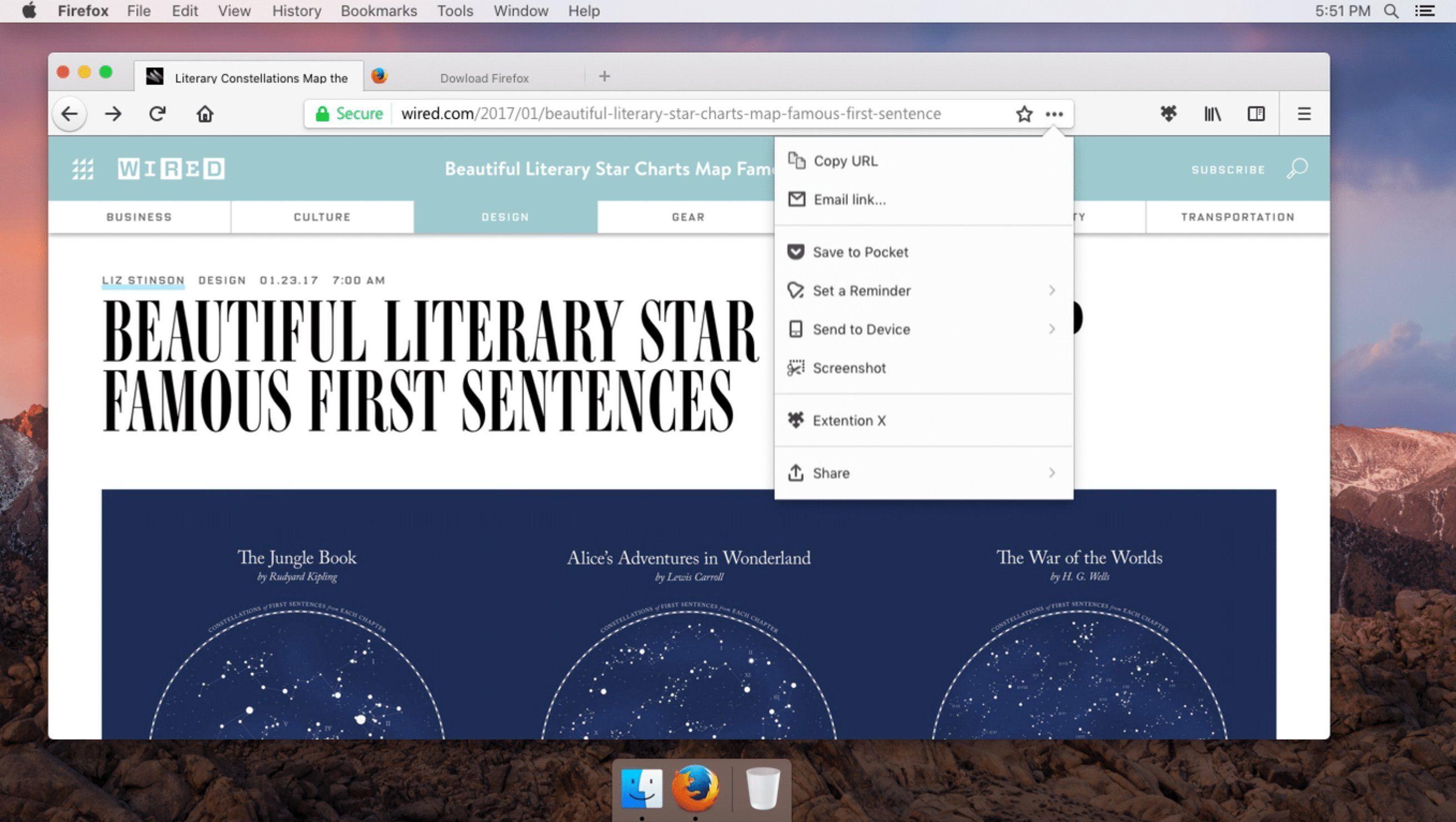 Mozilla Firefox Photon UI For Mac - Showing Arrow Panel