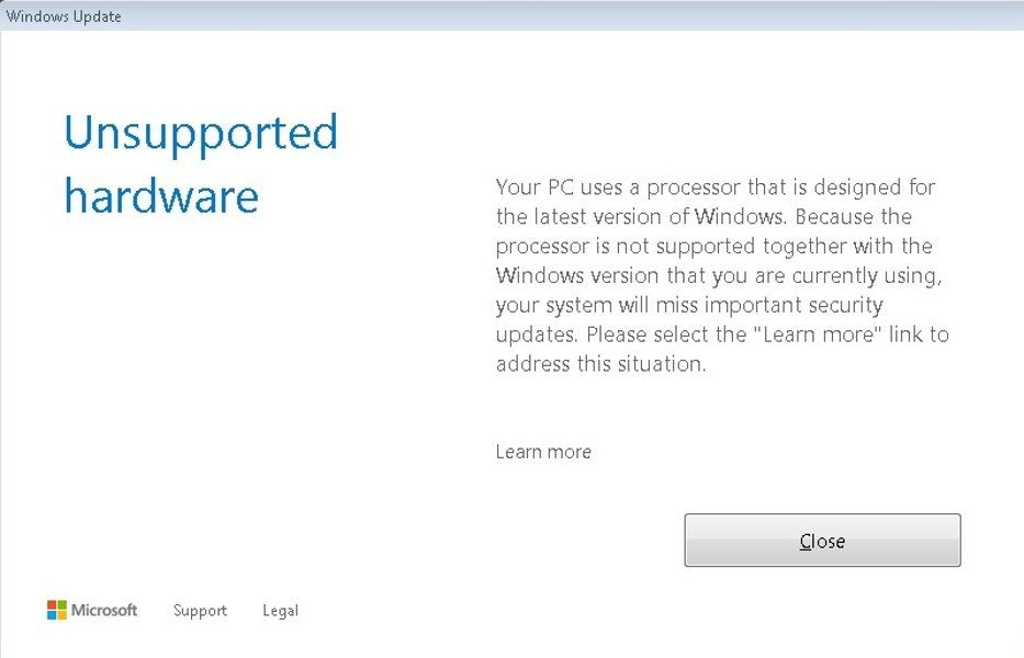 Windows Update Warning Unsupported Hardware