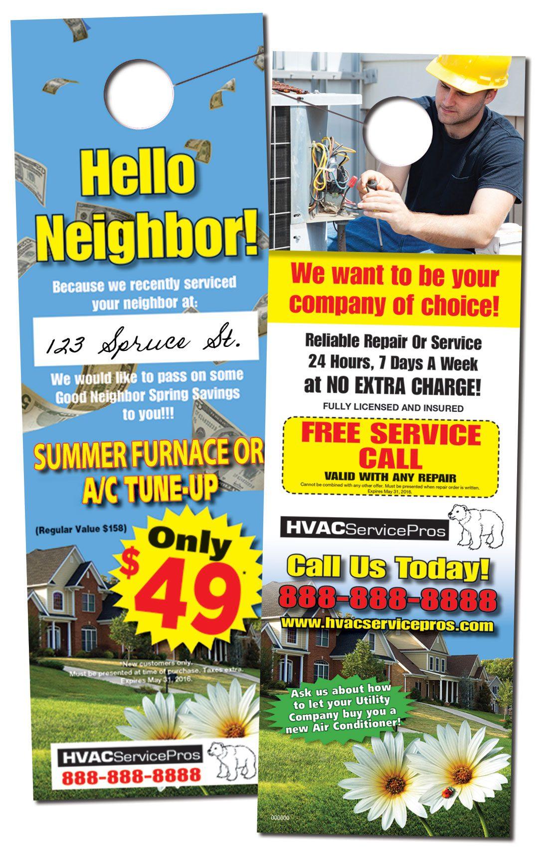 HVAC Self Mailer with Door Hanger Bonus  PrimeNet Direct Marketing Solutions