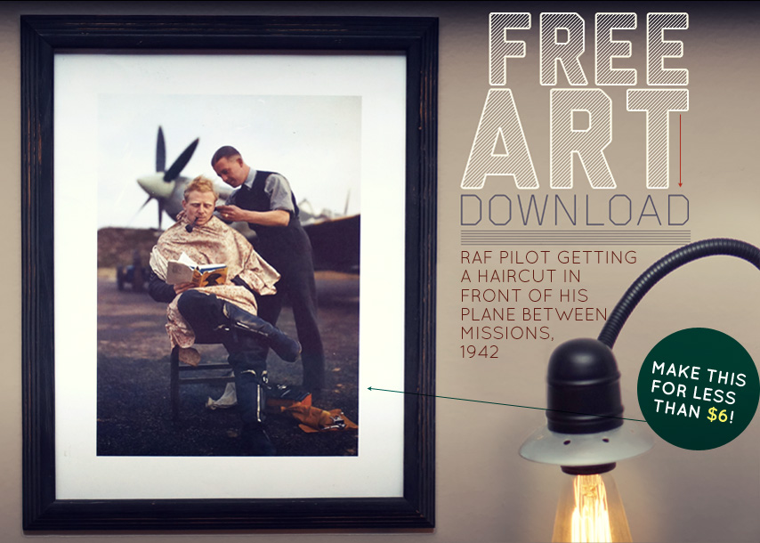 Free Art Download RAF Pilot Getting a Haircut Between