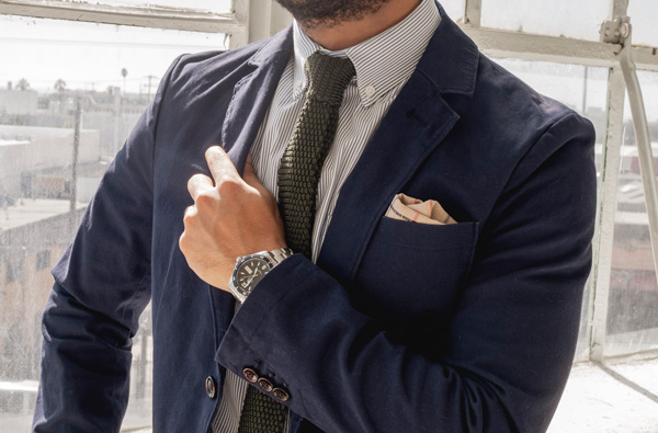 button down collar shirt with tie and blazer
