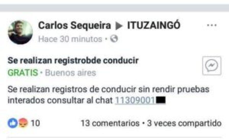 Licencias truchas en Ituzaingó