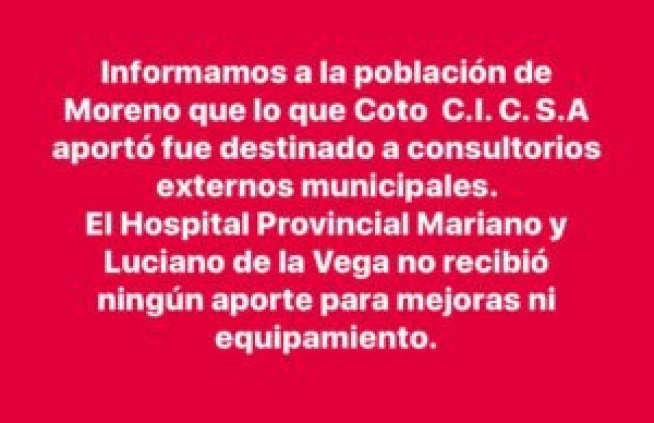 Hospital a la comunidad Moreno