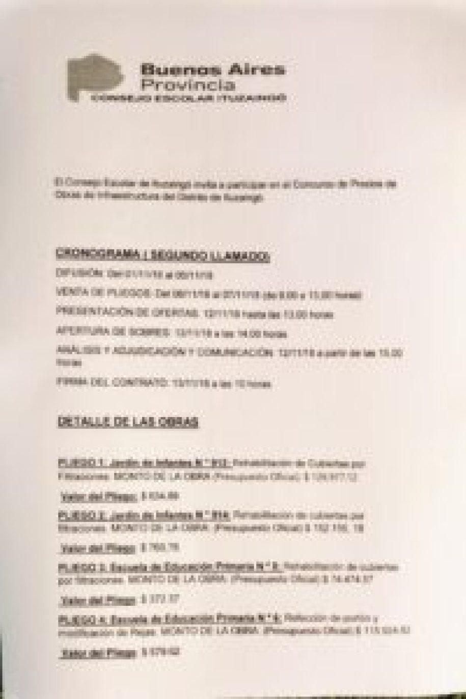 Obras en escuelas de Ituzaingó