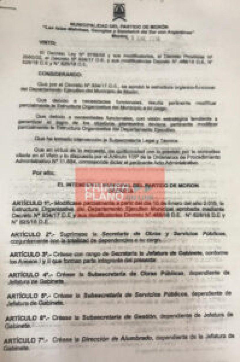 Decreto de Tagliaferro hoja 1