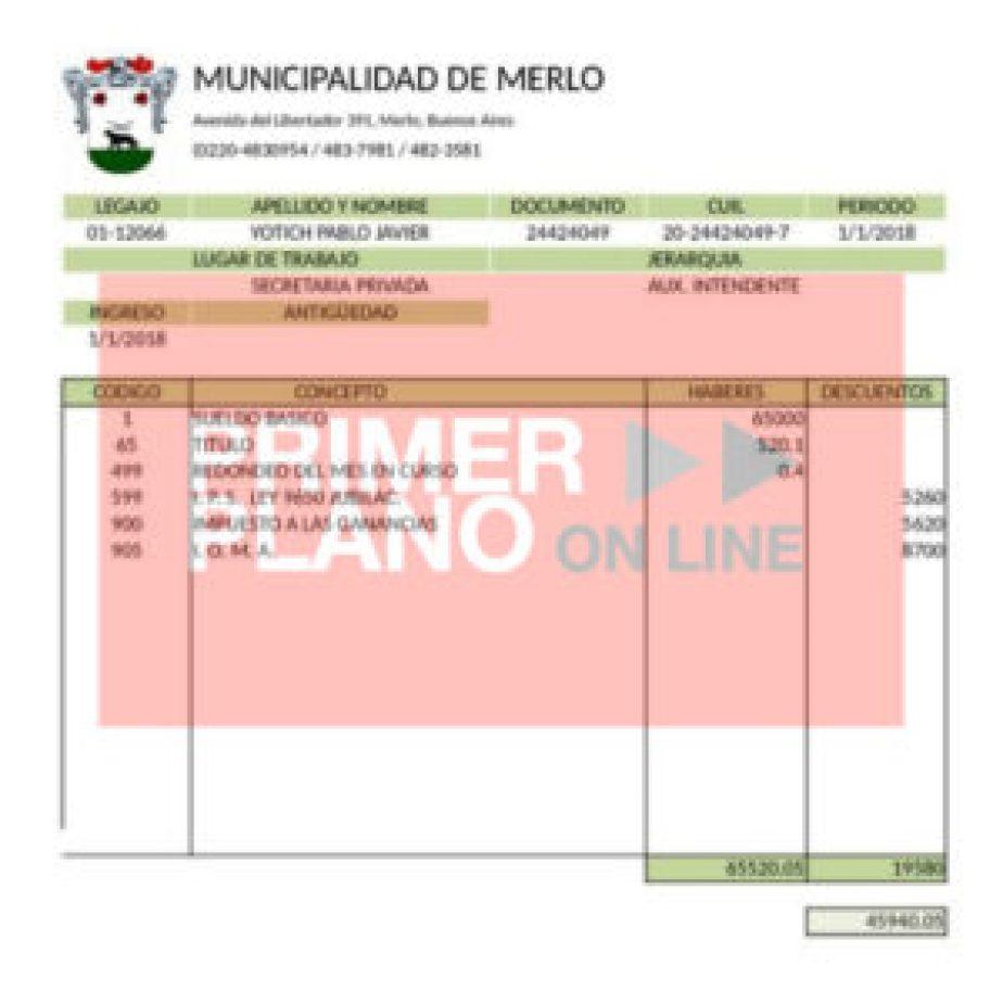 Recibo de sueldo de Pablo Yotich