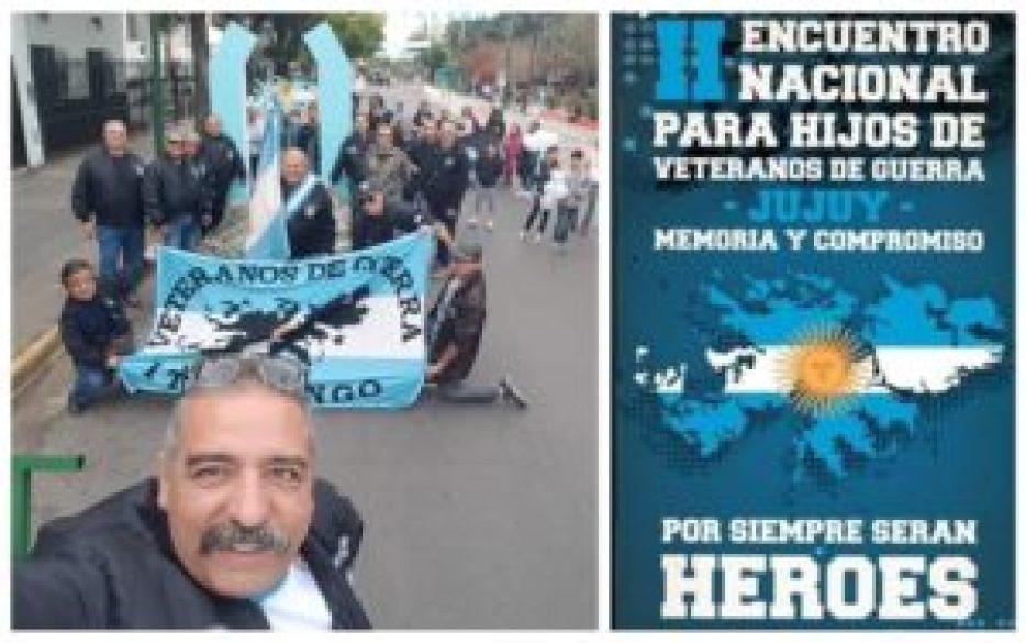 Oscar Vásquez, al frente, feliz de pasarle a los hijos de los excombatientes la posta de la causa de Malvinas